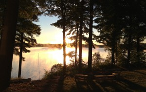 A cottage in northern Ontario at dawn