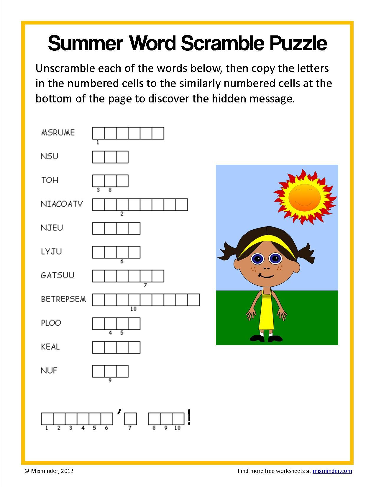 Summer Word Scramble Puzzle