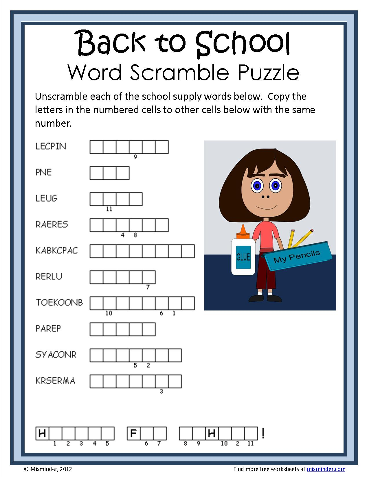 Back to School Word Scramble Puzzle