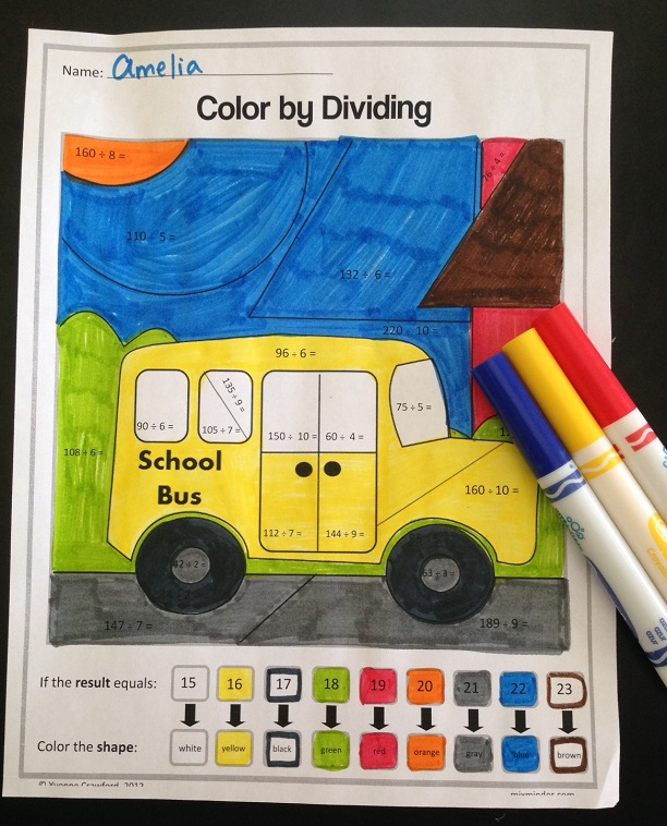 Back to School Color by Number Printables